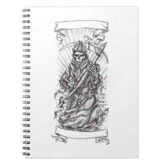 Grim Reaper Scythe Ribbon Tattoo Notebook