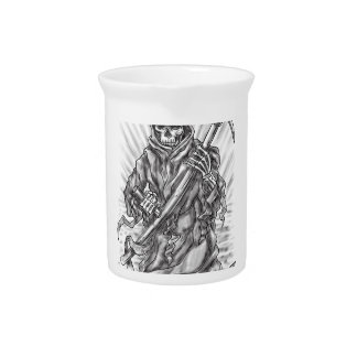 Grim Reaper Scythe Ribbon Tattoo Pitcher