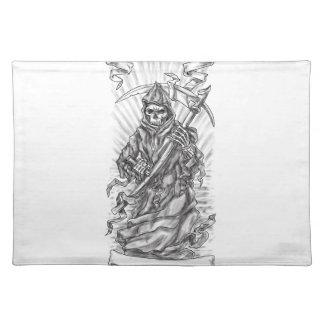 Grim Reaper Scythe Ribbon Tattoo Placemat