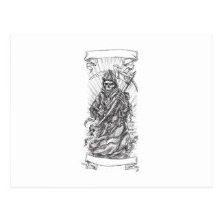 Grim Reaper Scythe Ribbon Tattoo Postcard