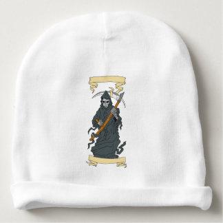 Grim Reaper Scythe Scroll Drawing Baby Beanie