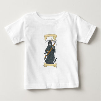 Grim Reaper Scythe Scroll Drawing Baby T-Shirt