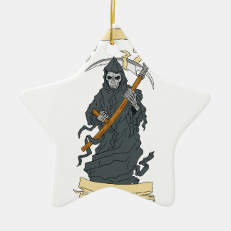 Grim Reaper Scythe Scroll Drawing Ceramic Ornament