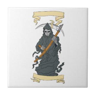 Grim Reaper Scythe Scroll Drawing Ceramic Tile