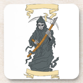 Grim Reaper Scythe Scroll Drawing Coaster
