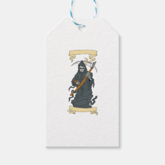 Grim Reaper Scythe Scroll Drawing Gift Tags