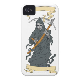 Grim Reaper Scythe Scroll Drawing iPhone 4 Case