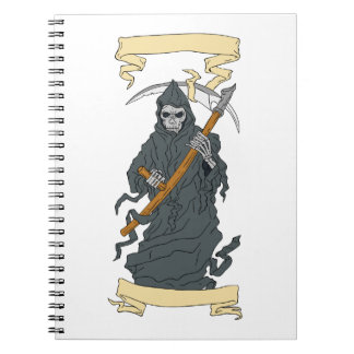 Grim Reaper Scythe Scroll Drawing Notebooks