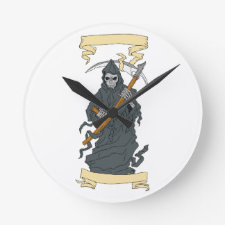 Grim Reaper Scythe Scroll Drawing Round Clock