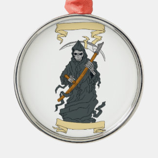 Grim Reaper Scythe Scroll Drawing Silver-Colored Round Decoration