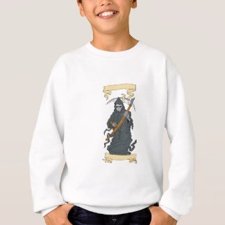 Grim Reaper Scythe Scroll Drawing Sweatshirt