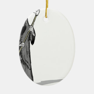 Grim Reaper Vector Sketch Ceramic Ornament