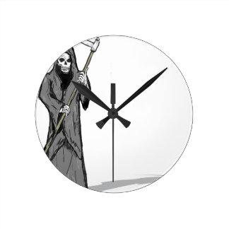Grim Reaper Vector Sketch Round Clock