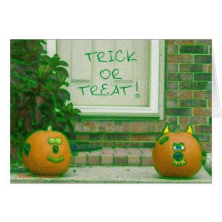 Grimacing Trick or Treat Pumpkins Greeting Cards