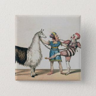 Grimaldi and the Alpaca, in the Popular Pantomime 15 Cm Square Badge