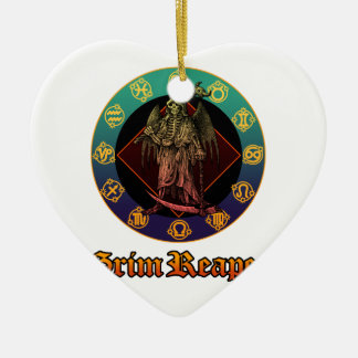 grimreaper and horoscope 2 ceramic heart decoration