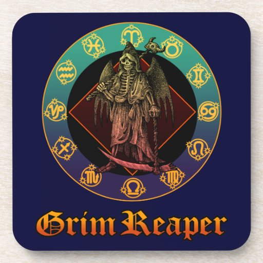 grimreaper and horoscope 2 drink coaster