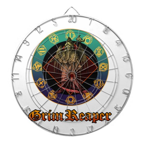 grimreaper and horoscope 2 dartboard with darts