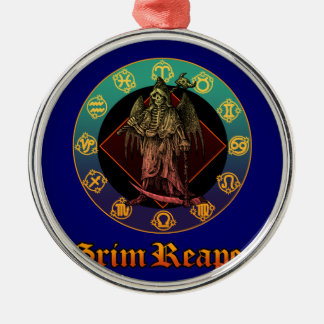 grimreaper and horoscope 2 Silver-Colored round decoration