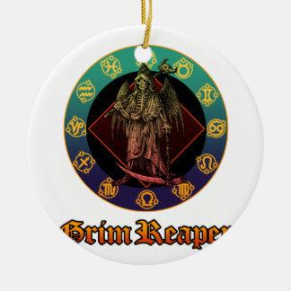 grimreaper and horoscope 2 round ceramic decoration