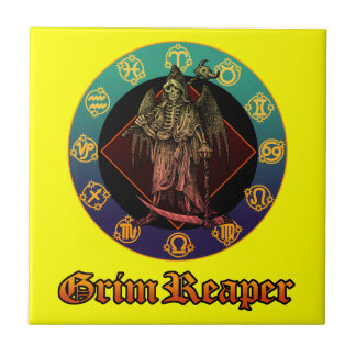 grimreaper and horoscope 2 small square tile
