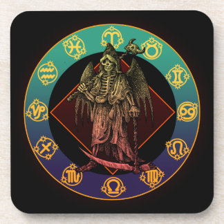 grimreaper and horoscope drink coaster