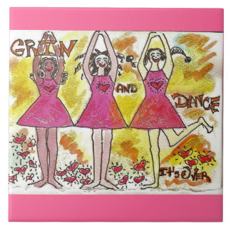Grin and Dance, It's Over Large Square Tile