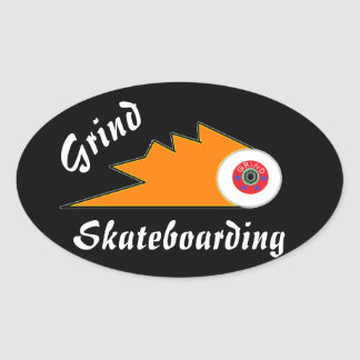 grind skateboard clothing sports logo oval sticker