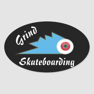 grind skateboard clothing sports logo oval sticker
