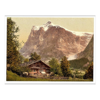 Grindelwald, chalet and Mount Wetterhorn, Bernese Postcard