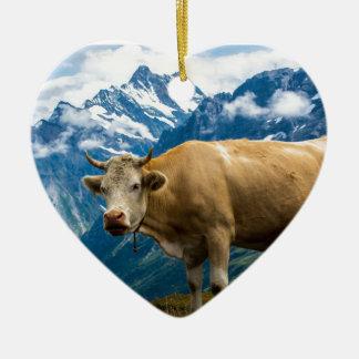 Grindelwald Cow - Bernese Alps - Switzerland Ceramic Heart Decoration