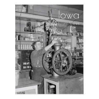 Grinding Coffee in a General Store Postcard