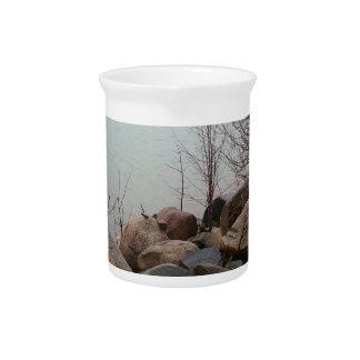Grindstone City Autumn Fall Shoreline Sandstone Beverage Pitchers