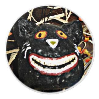 Grinning Black Cat Ceramic Knob