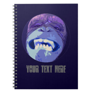 Grinning Chimp Monkey face spiral notebook (blue)