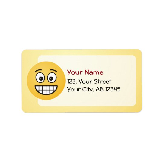 Grinning Face with Open Eyes Address Label