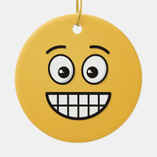 Grinning Face with Open Eyes Ceramic Ornament