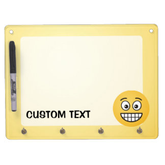 Grinning Face with Open Eyes Dry Erase Board With Key Ring Holder
