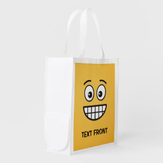 Grinning Face with Open Eyes Reusable Grocery Bag