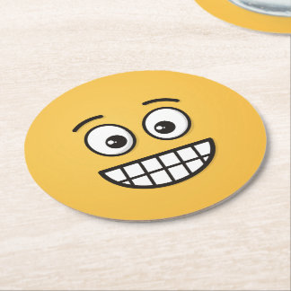Grinning Face with Open Eyes Round Paper Coaster