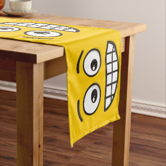 Grinning Face with Open Eyes Short Table Runner