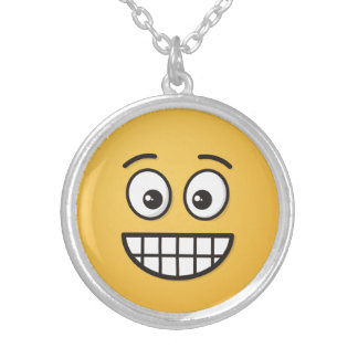 Grinning Face with Open Eyes Silver Plated Necklace