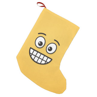 Grinning Face with Open Eyes Small Christmas Stocking