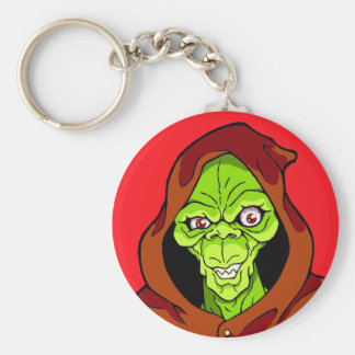 Grinning Green Ghoul Basic Round Button Key Ring