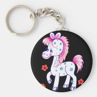 Grinning Happy Pony Black Background Basic Round Button Key Ring