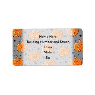 Grinning Orange Halloween Pumpkin Pattern Address Label