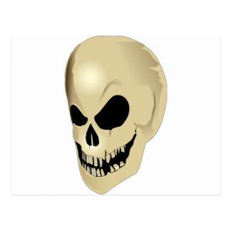 grinning skull postcard