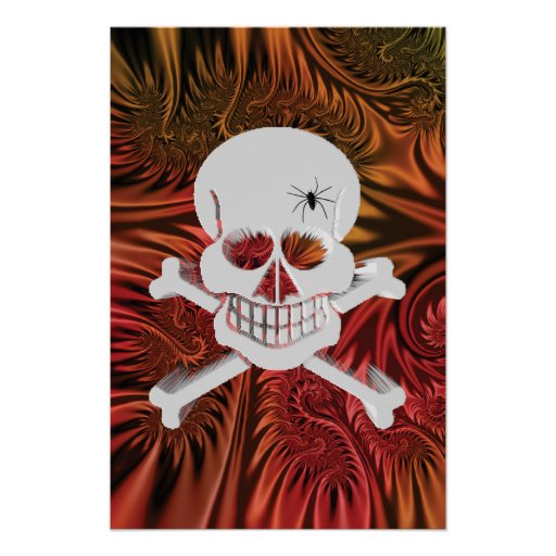Grinning Skull with Spider Poster