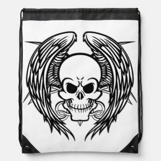 Grinning Tattoo Skull and Wings Drawstring Bags