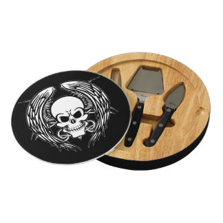 Grinning Tattoo Skull and Wings Round Cheeseboard